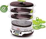Seb VitaCuisine Compact Cuiseur vapeur, 3 paniers vapeur, Sans BPA, 2 plateaux de cuisson, Verrines en verre, Support à œufs, Livre de recette, Rangement ultra-compact breveté VS405E00