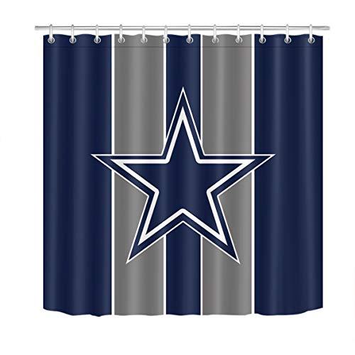 LB Western Shower Curtain Texas Star American Football Cowboys Emblem Arlington Stripe Shower Curtain Set for Bathroom,70 x 70 Inch Waterproof Fabric Curtain with 12Hooks