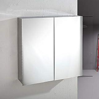 Klaxon Stainless Steel Double Door Mirror Cabinet (Silver)
