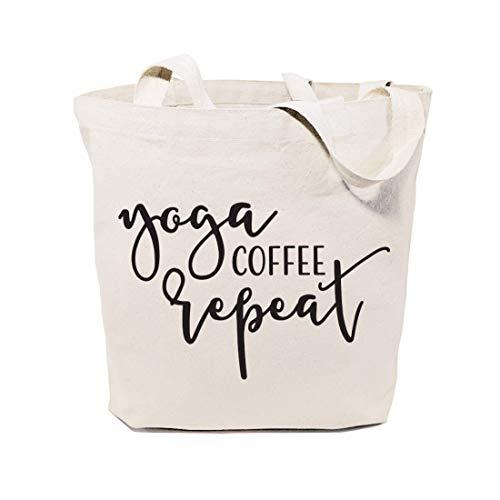 Yoga- / Kaffee-Wiederholung, Baumwolle, für Einkaufen und Reisen, wiederverwendbar, Schultertasche und Handtasche, Geschenk für Sie, Pilates, Fitness, motivierende Tasche