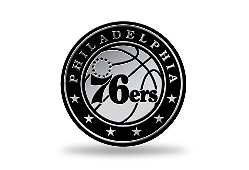 Rico Industries NBA Chrome Finished Auto Emblem 3D Sticker, Philadelphia 76ers