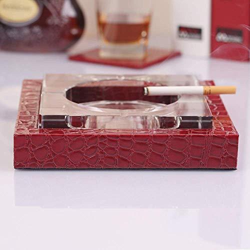 Gafas cigarro Piel brillante mesa Cenicero simples cigarrillos modernos Cenicero for uso en interiores al aire libre, cristal artificial Liner fumadores Cenicero for la seguridad del Decoración - marr