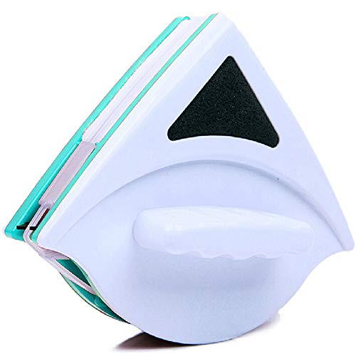 Herramienta de Limpieza De Vidrio, Herramienta De Limpieza Magnética De Sola Capa Ajustable con Cuerda Anti-Caída. para Ventanas De Gran Altura De Un Solo Vidrio, con 5-12mm Espesor (Verde)