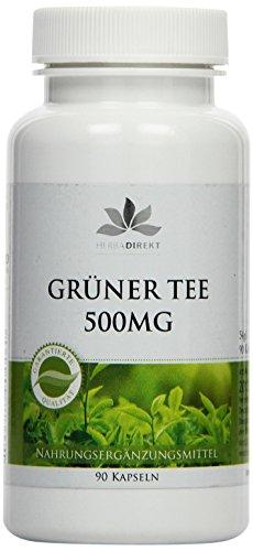 Herbadirekt grüner Tee 500 mg, Camellia sinensis, mindestens 50 prozent Polyphenole, 90 Kapseln, vegi, 1er Pack (1 x 54 g)