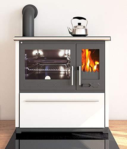 EEK A+ Küchenofen Holzherd Plamen 850 weiß, linke Version - 8 kW Dauerbrandherd