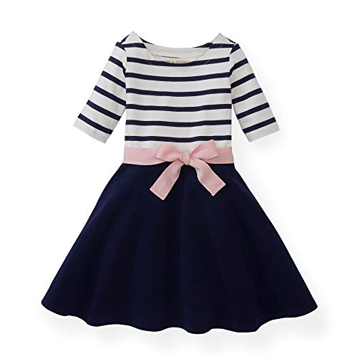 Hope & Henry Girls Navy with Rose Ribbon Blocked Skater Dress