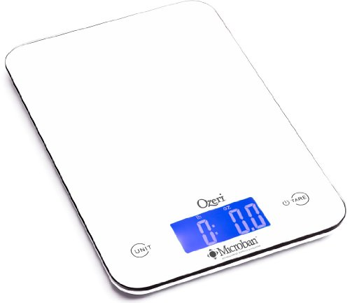 Ozeri ZK13-5PW Touch II Professional Digital Kitchen Scale with Microban Antimicrobial Product Protection,White