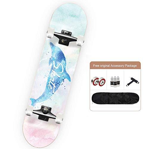 Dljyy Pro Skateboard Komplett Skateboards, Double Kick-konkave Skateboarden for Casterboards Tricks for Kinder Junge Jugendliche Anfänger