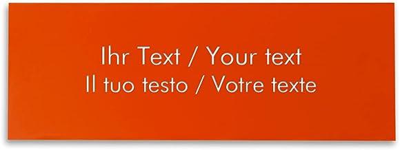 Naamplaatje met persoonlijke tekst, rechthoekig plastic bord in oranje-wit - belbord, deurschild, gravureplaatje 180 x 65 ...