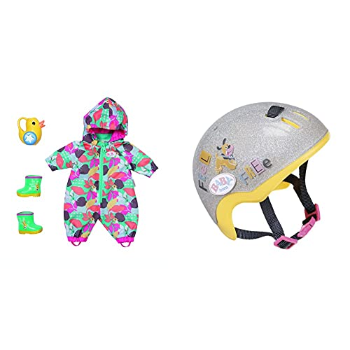 BABY Born Zapf Creation 830086 Deluxe Matschhose Set 43 cm - bunter Puppenoverall Overall & 830055 Fahrradhelm- Glitzer-Puppenhelm in Silber und gelb für 43cm Puppen