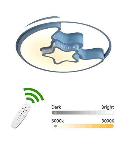 HIL Blue moderne plafondlamp LED ster maan creatieve lamp voor kinderen studie meisjes geschiedenis afstandsbediening acryl en plafondlamp van smeedijzer diameter 50 cm