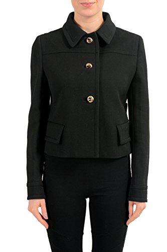 Prada 100% Wool Black Button Down Women's Basic Jacket US M IT 42