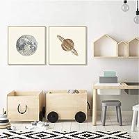 家のためのアートワーク2ピース80x80cmフレームなし月のポスター金星土星の壁アート太陽系惑星地球のポスター子供のための教育子供リビングルームの装飾