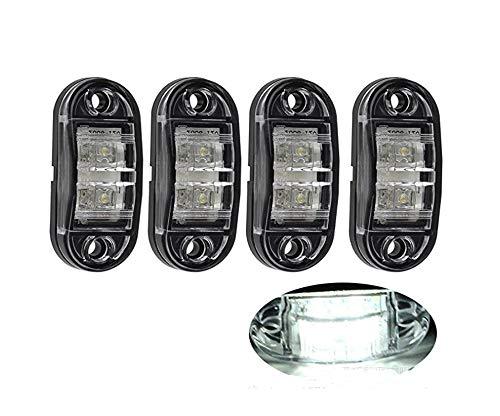 4 x LED 12V to 24V WEISS BEGRENZUNGSLEUCHTE POSITIONSLEUCHTE SEITENMARKIERUNGSLEUCHTE LKW E-Prüf E9