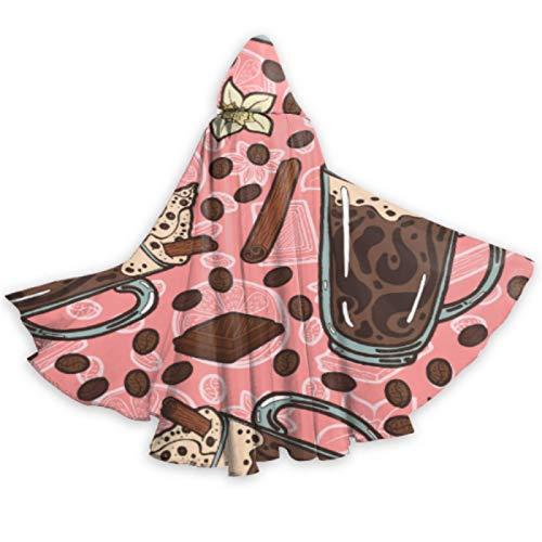 ALALAL Colorido Lindo Postre Snack Cup Cake Disfraz Capa con Capucha Capa de Halloween Capa de 59 Pulgadas para Navidad Disfraces de Halloween Cosplay