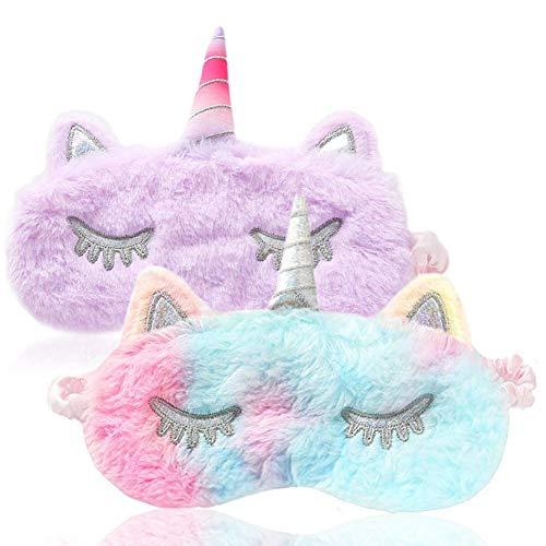 2 Piezas Linda 3D Máscara Unicornio Antifaz para Dormir Máscara para Dormir Unicornio Animal Máscara de ojos Venda Viajar Siesta Niños Niña Mujer Sueño Sombra Viajar Descansar