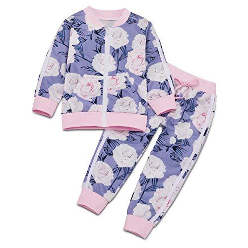 Borlai 1-6 Jahre Kleine Mädchen Trainingsanzüge Mode Blumen Outfits Set Jacke und Hose, 2PCS