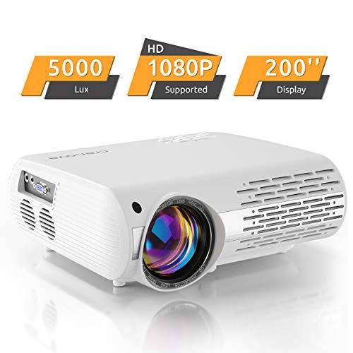Beamer, 5000 Lux Video Projektor Full HD Crenova XPE660 unterstützt 1080P Heimkino led Beamer , Verbindung mit Smartphone, TV-Sticks, PS4 Xbox, HDMI, VGA, SD-Karten, AV- und USB-Geräten