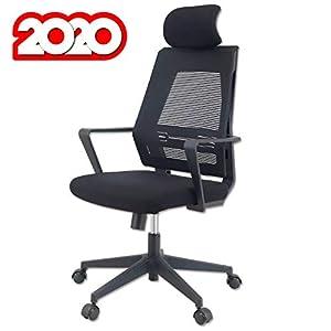 KLIM™ K300 Office Chair – Silla de Oficina ergonómica con reposacabezas + Cojín y Tela Suaves + hasta 135 kg + Silla de Escritorio con Ruedas para Oficina y casa + 5 años de garantía + Nueva 2020