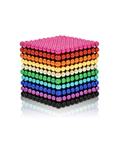 Sky Magnets 3 mm 1010 Pieces Magnetic Balls Cube Multicolor Fidget Gadget Toys Rare Earth Magnets Office Desk Toy Desk Games Magnet Toys Magnetic Beads Stress Relief Toys for Adults