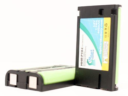 2x Pack - Panasonic HHR-P104 Battery - Replacement for Panasonic Cordless Phone Battery (800mAh, 3.6V, NI-MH) - Compatible with HHR-P104, KX-TG4500, KX-TGA450B, KX-TG4500B, KX-TG5632, KX-TG6500, KX-TG2357, KX-TG5432, KX-TG5240, KX-TG2356