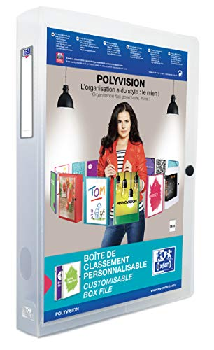Oxford 100200142 Kunststoff-Sammelbox polyvision 4 cm breit DIN A4 farblos transparent Drucknopf-Verschluss Sammel-Mappe Heftbox Heft-Sammler Dokumenten-Box ideal für Büro Schule