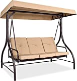 3 Person Large Patio Swing Seat with Adjustable Canopy, Weather Resistant Outdoor Coverting Canopy Swing Glider, Hammock Lounge Chair Bench with Flatbed, for Patio Garden Poolside Balcony (Beige)