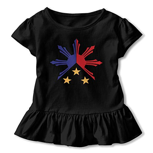Tribal Philippines Filipino Sun and Stars Flag 2-6 Years Old Child Girls Kawaii Short Sleeve T Shirt Printed Dress Black