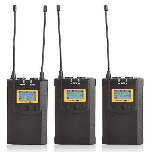 Mugast Professioneel 48 kanaals UHF draadloze microfoonsysteem, 1 ontvanger 2 zenders 100 m real-time microfoonkit voor interviews, podium-, film- en video-opnames