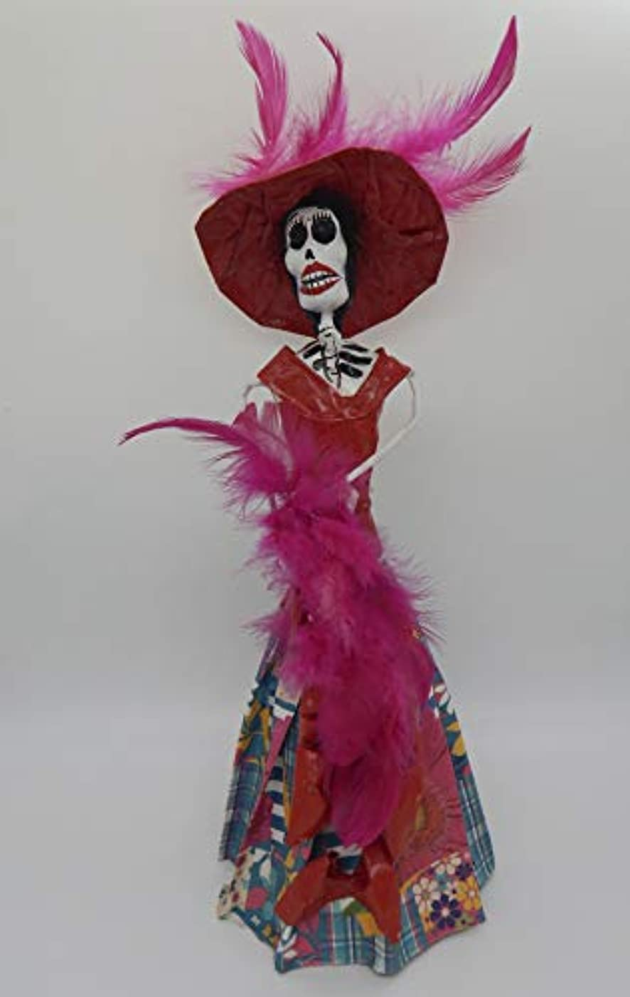 COLOR Y TRADICIóN Mexican Catrina Doll Day of Dead Skeleton Paper Mache Dia de Los Muertos Skull Folk Art Halloween Decoration # 1592