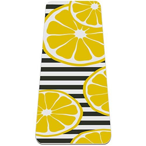 Mat de yoga plegable 6 mm de grosor de espesor de la alfombra de yoga de viaje antideslizante y estera suave del ejercicio ligero for el ejercicio de yoga Pilates y la aptitud (72 'x 24' x 6 mm) Limon
