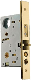 Baldwin 6021.003.R Right Handed Handleset and Knob Entrance Mortise Lock with 2-3/4-Inch Backset and Emergency Egress, Lifetime Polished Brass