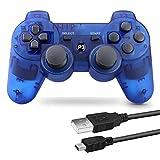 PS3 用 ワイヤレスコントローラー 6軸センサー DUAL SHOCK3 ゲームパット 互換対応 USB ケーブル 日本語説明書 1年保証付き (透明ブルー)