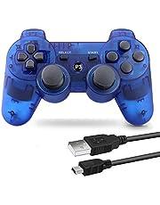 PS3 用 ワイヤレスコントローラー 6軸センサー DUAL SHOCK3 ゲームパット 互換対応 USB ケーブル 日本語説明書 付き (透明ブルー)