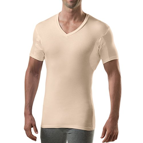 Sweatproof Undershirt for Men with Underarm Sweat Pads (Slim Fit, V-Neck) Beige