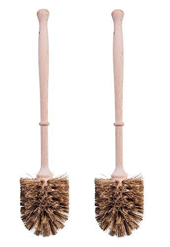 2er Set Klobürste aus Holz und Naturfasern – Toilettenbürste/Klobürsten Bürste Natur - Bürsten zur WC Reinigung mit Naturfaser/Naturborsten und Holzgriff/Holzstiel