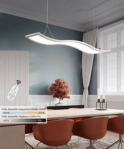 UNIQUE-F LED Pendelleuchte Esstisch Hängelampe Deckenleuchte 52W Dimmbar Mit Fernbedienung Höhe Eisen Hängelampe Wave Design