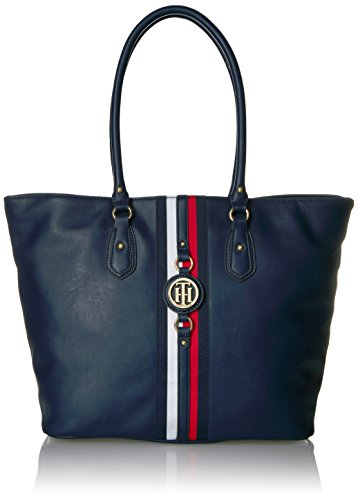 Tote bag for women featuring the Tommy Hilfiger women signature flag stripe and gold TH hardware Double handles with gold hardware details. Flat bottom, top zip closure Lined nylon interior with wall zip pocket and slip pocket This Tommy Hilfiger bag...