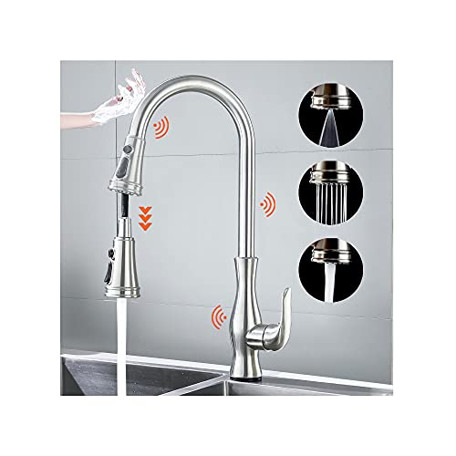 Touch on Kitchen Faucets with Pull Down Sprayer Kitchen Smart Sink Faucet, Single Handle Sensor Kitchen Touch on Faucet with 3 Modes Pull-Down Sprayer, Brushed Nickel Dual Sensor Sink Faucet