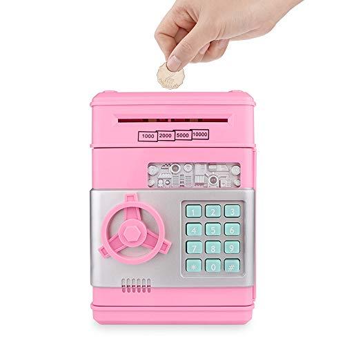 OurLeeme Hucha Electronica, Contraseña Money Bank para Cash Coin ATM Mini Coin Banks Mejores Regalos para niños (Rosado)