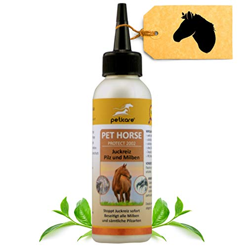 Peticare Spezial Pflege-Öl für Pferde gegen Juckreiz, Milben, Gras-Milben, Flöhe - Stoppt effektiv Jucken durch Pilz-Befall, Milben-Befall, rein pflanzliche Lotion - petHorse Protect 2002