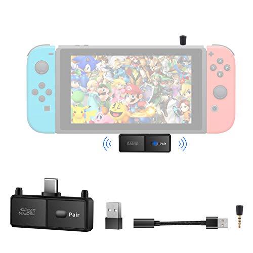 SZMDLX Trasmettitore audio Bluetooth 5.0 con USB C per Nintendo Switch, adattatore wireless Bluetooth con microfono per PS4 TV PC, coppia con cuffie Bluetooth Speaker AirPods, Plug and Play