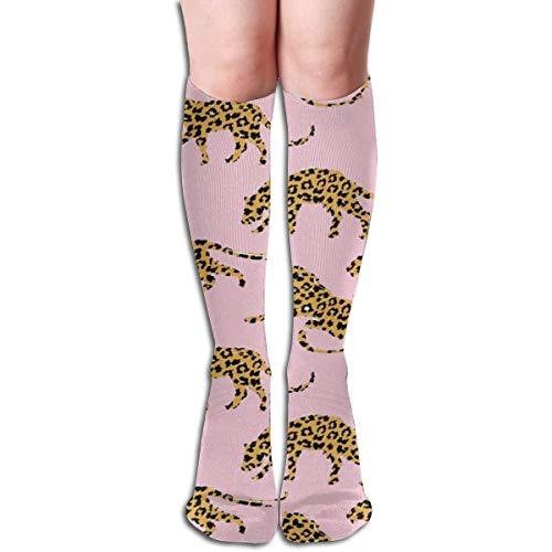 Exotic Silhouettes - Calcetines deportivos con estampado de leopardos, 50 cm, unisex, calcetines de compresión extra largos