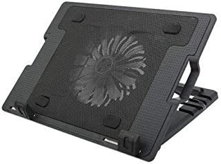 Aleesh 9 Inch To 17 Inch Laptop PC 2 USB Cooling Powerf 1 Fan Cooler Adjustable Stand Pad Black