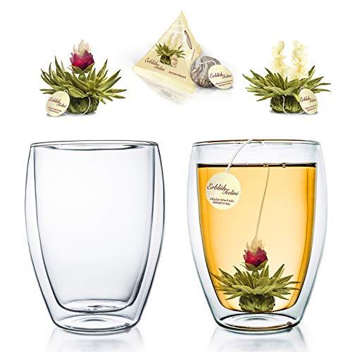 """Creano doppelwandiges Thermoglas 250ml """"DG-Hoch"""", 2er Set + 2 Teeblumen Erblühteelini Weißer Tee im Tassenformat"""