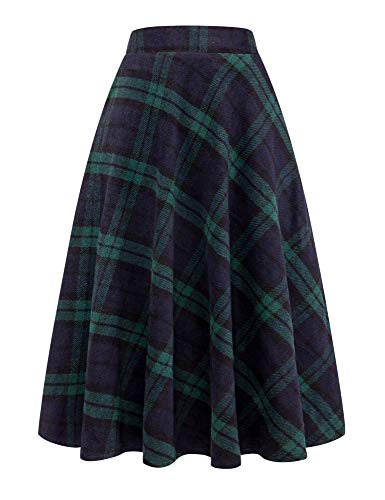 IDEALSANXUN Womens High Waist Winter Warm Long Maxi Skirt Flare A-line Plaid Skirts (Medium, Long Green)