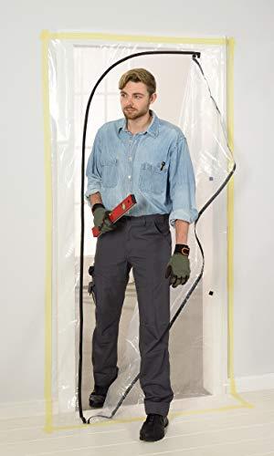 Colorus Profi Staubschutztüre 2,2 x 1,2 m | Bautür Staubtür aus LDPE Folie | Staubschutz Staubvorhang transparent | Schmutzschleuse für Baustellen | Schutztür mit Reißverschluss | Malerbedarf