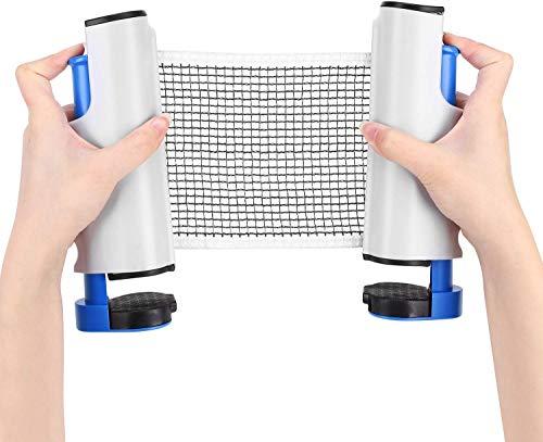 ITODA Retráctil plástico Mesa de Ping Pong Red de Ping Pong Red de reemplazo Ajustable portátil para Mesa de Ping-Pong/Billar (Blanco)