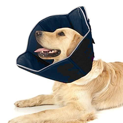 WingFly Schutzkragen für Hunds Halskrause Schützender Einstellbar Hundekragen Schutzkragen Krägen mit Klettverschluss Tier Kragen Elizabethan Halsband für Haustier Hund Katze Nackenschutz Kissen (L)