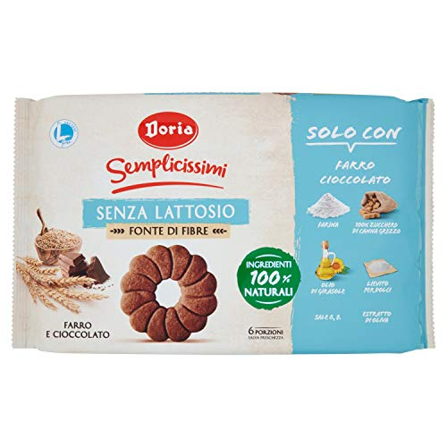 Doria - Semplicissimi Frollini Farro e Cioccolato Senza Lattosio - Biscotti Ideali per il tuo Benessere - Confezione da 280 gr - 6 Porzioni